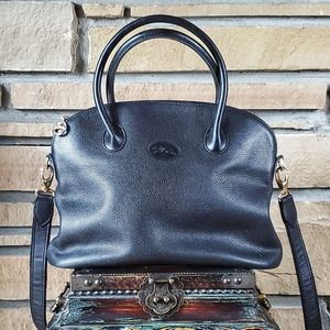 🥀LONGCHAMP Black Leather Au Sultan Dome Satchel ,